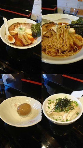 「『醤油チャーシューめん+鶏梅丼+煮玉子』」@麺屋 千とせの写真