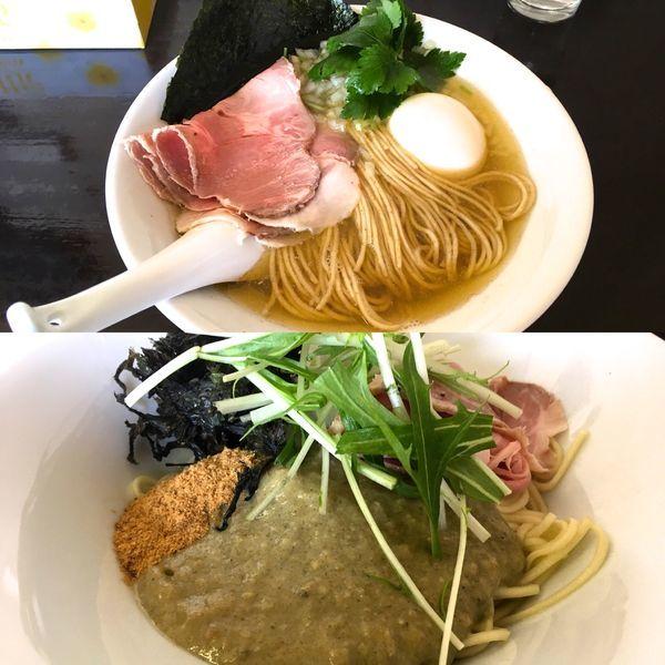 「牡蠣和え玉+煮干そば(白)」@と多゛食堂の写真