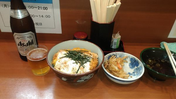「【夜の部】かつ丼セット + 瓶ビール + かき揚げ」@元長の写真