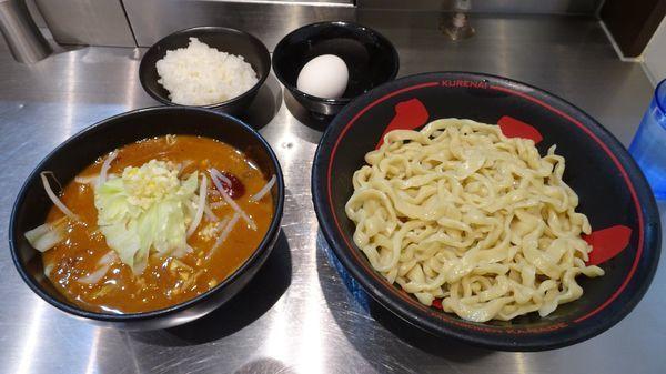 「甘辛つけ麺+温泉たまご(980円)+小ライス(100円)」@麺創研 紅の写真