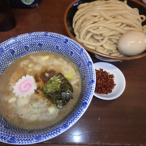 「辛つけ麺(750円)、味玉(100円クーポン)」@次念序の写真