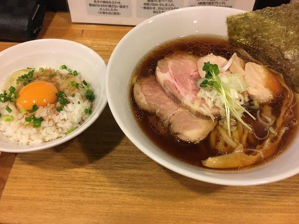 「チャーシュー中華そば+TKG」@中華蕎麦 はざまの写真