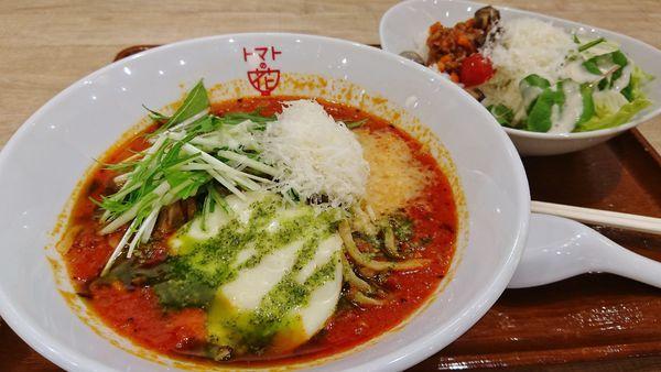 「濃厚トマトスープ麺+大盛り+タコライス」@トマトの花 イオンモール日の出店の写真