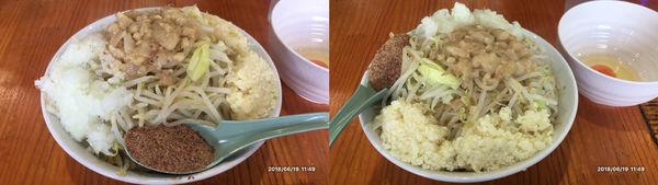 「ラーメン300g、魚粉、タマネギ、生卵」@らーめん じろきんの写真