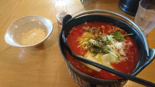「【季節限定】濃厚トマト麺+チーズ」@麺処そばじんの写真