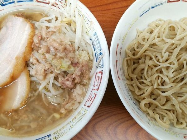 「つけ麺(麺少なめ、ニンニク半分アブラ)」@ラーメン二郎 亀戸店の写真