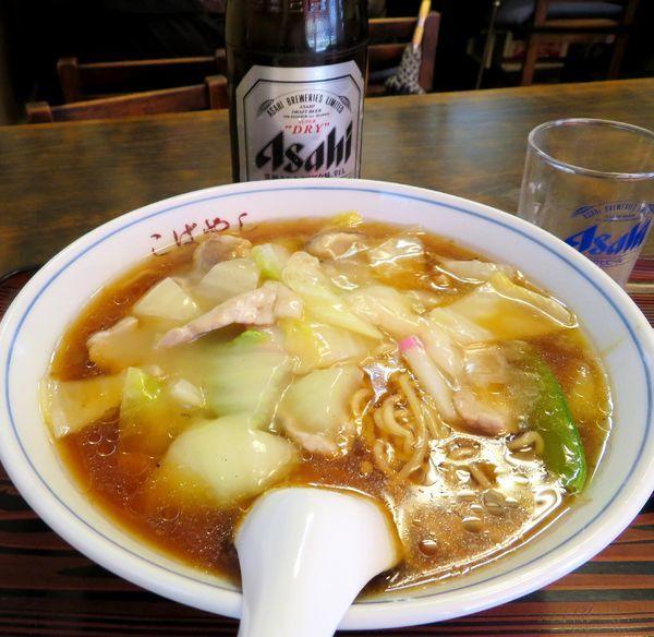 「肉そば(800円)+アサヒSD」@中華 こばやしの写真
