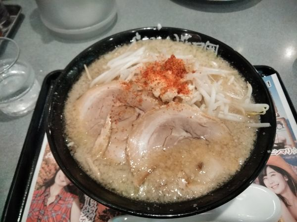 「ぐらんキャニオン背脂多め+餃子セット」@らあめん花月嵐 江戸川橋店の写真