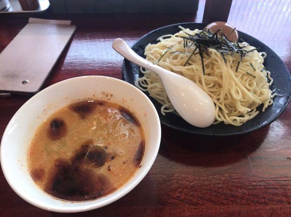 「冷やし味噌つけ麺+煮玉子」@翔鶴 高崎店の写真
