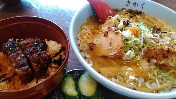 「サバだしラーメンと半ソースカツ丼」@食堂きかくの写真