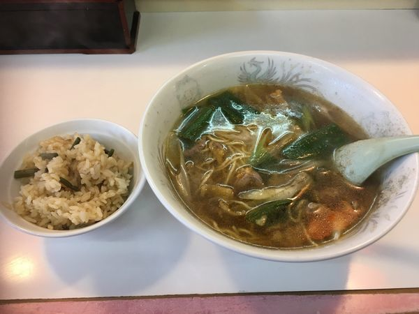 「鶏ネギらーめん+山菜ご飯付き」@餃子飯店の写真