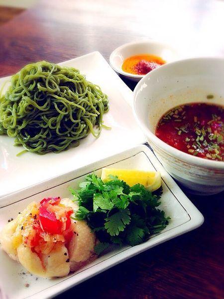 「【限定】緑一色冷やしつけ麺 950円」@タンメン カントナの写真