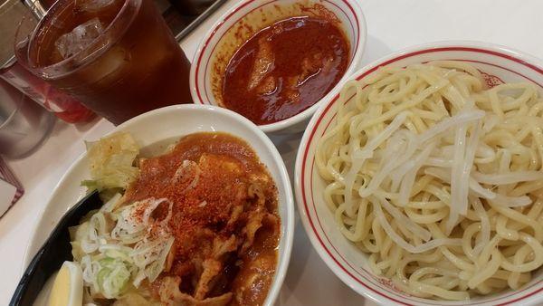 「半蒙古丼、半冷やし味噌セット 880円☆」@蒙古タンメン 中本 柏店の写真