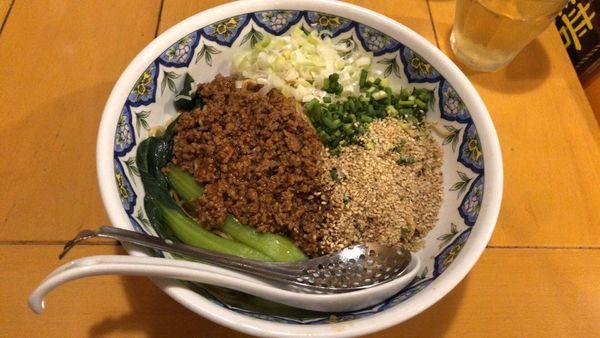 「汁なし担々麺 大盛(柳麺」@中国ラーメン 揚州商人 市川二俣店の写真