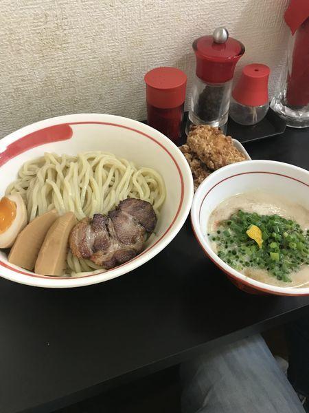 「「限定」濃厚チキンポタージュつけ麺 ミニチキン」@自家製麺SHINの写真