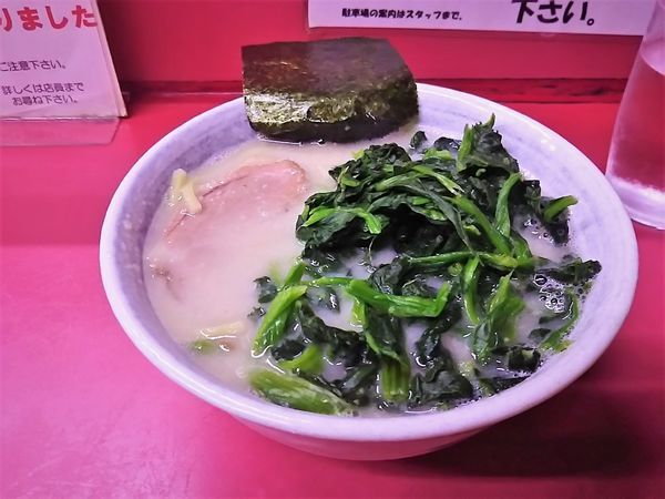 「ミニとんこつラーメン(太麺)¥450+ほうれん草¥100」@とんこつラーメン 辰巳屋の写真