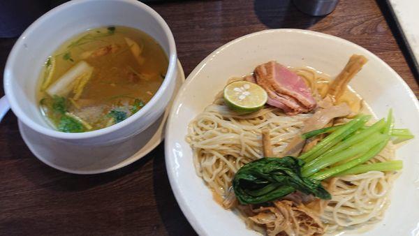 「【期間限定】鴨と松茸のつけそば 1000円」@麺道 麒麟児の写真