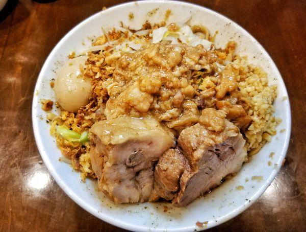 「汁なし小 生姜、味玉」@麺屋 歩夢の写真