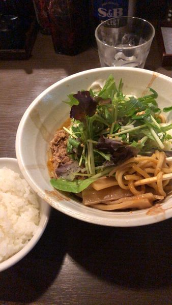 「汁なし坦々麺+サービス半ライス」@荻窪らーめん 栄龍軒の写真