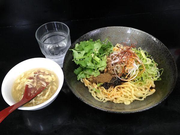 「汁なし担担麺 温 並盛 辛 +スープ&ライス(サービス!)」@汁なし担々麺 ちりちりの写真