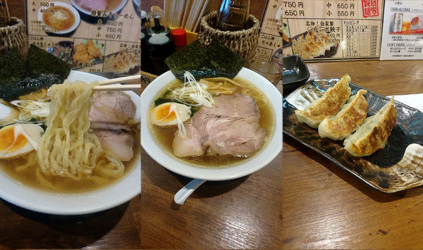 「『自家製手打ち醤油らーめん 中+ジャンボ餃子3個』」@らーめん 久兵衛の写真