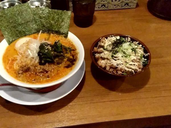 「担々麺(並盛・150g)880円+チャーマヨ丼380円」@富意家の写真