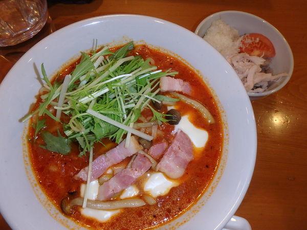 「チーズフォンデュときのことベーコンのトマトスープ麺780円」@トマトの花 吉祥寺店の写真