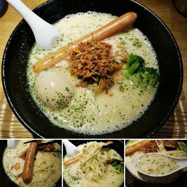「ベジ豚そば+トロトロ味玉=88円」@自家製麺 中華そば 多繋の写真