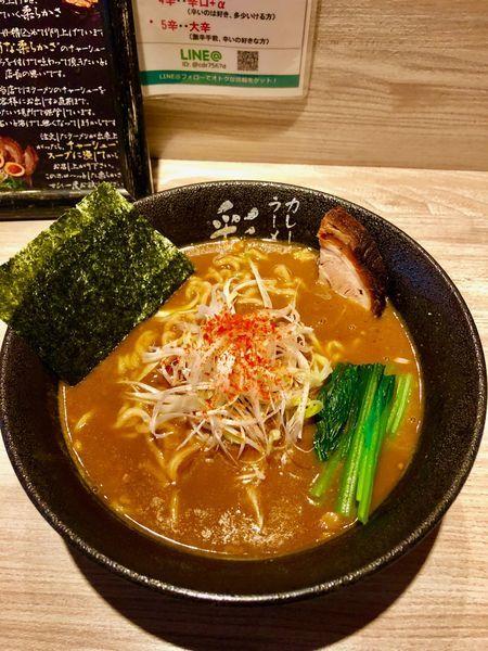 「カレーラーメンと麦ご飯(大)」@カレーラーメン 彩 SAIの写真