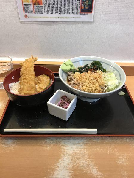 「イカ天丼セット 冷やしたぬきそば 590円」@かのや 新宿西口店の写真