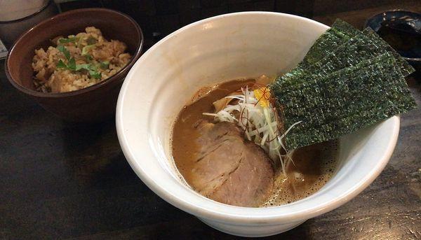 「海老らーめん(限定)+炊き込みご飯(880円+170円)」@麺屋 奨 TASUKUの写真
