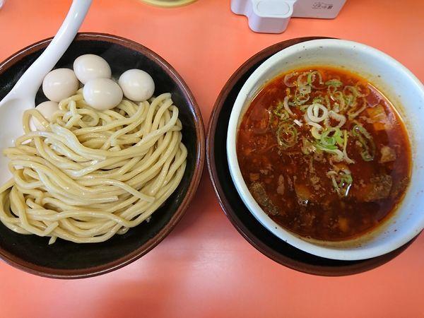 「味玉辛獅子づけ麺(中盛、チャーシュー3枚)」@獅子王の写真