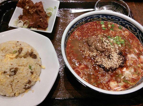 「担々麺セット 1380円(税別)」@富士力食堂 トレッサ横浜店の写真