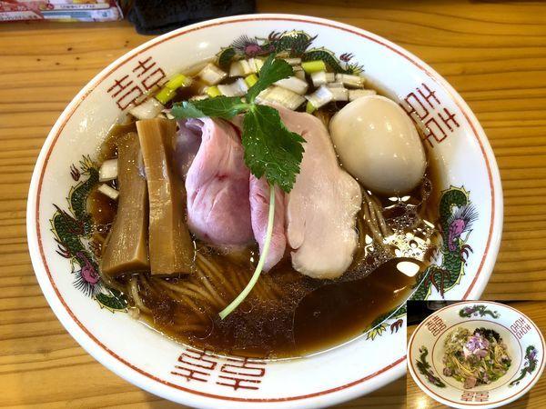 「味玉中華そば(880円)+牡蠣の替玉ハーフ(250円)」@中華蕎麦 みうらの写真