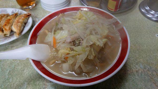 「タンメン 太麺+餃子6個(Aセット)850円」@来来来の写真