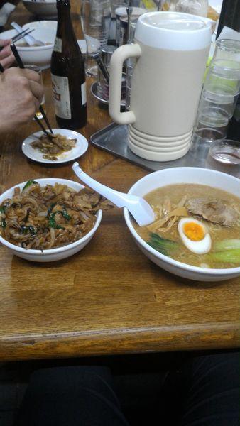 「天狗ラーメンと焼き肉丼セット」@天狗 北越らーめんの写真