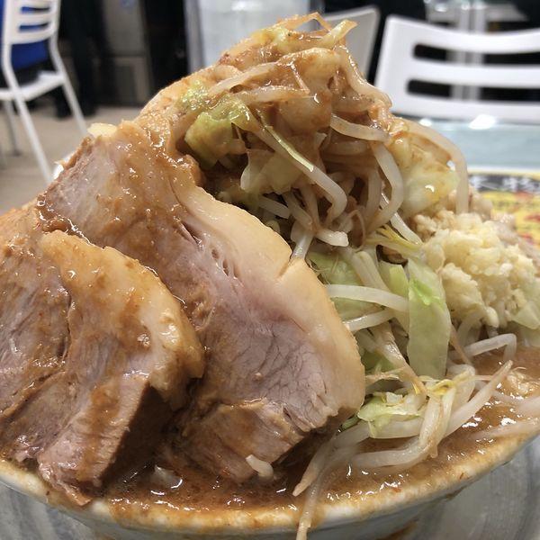 「味噌ラーメン400g(ニンニク少、脂マシ、野菜マシマシ)」@ラーメン 富次郎 堀町店の写真