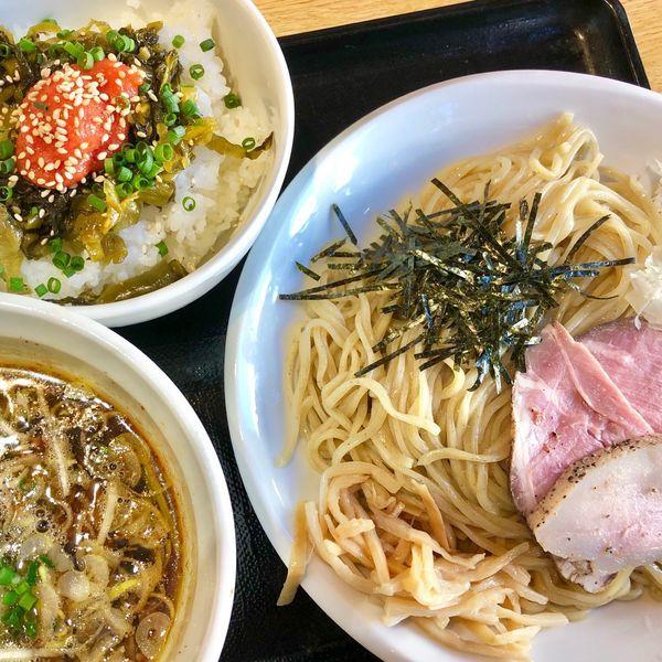 「つけそば780円 明太高菜ごはん200円」@麺ゃこもんの写真