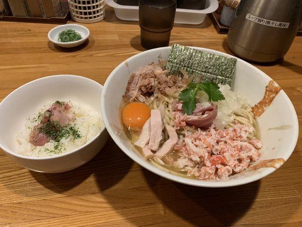 「ズワイ蟹と鯵のまぜそば  追い飯付き」@麺屋 ひな多の写真