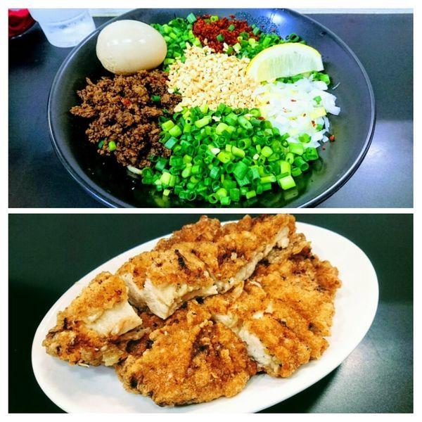 「新担担麺(ちょい辛)+揚チキン」@自家製麺SHINの写真