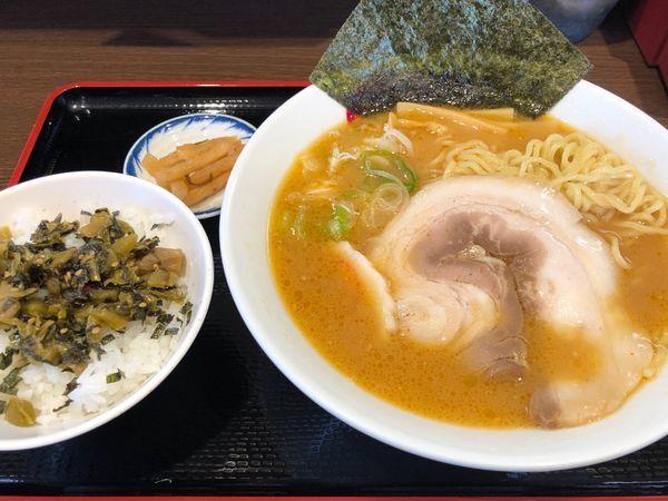 「味噌ラーメン570円、高菜ご飯150円」@めん六や 茨城水戸東店の写真
