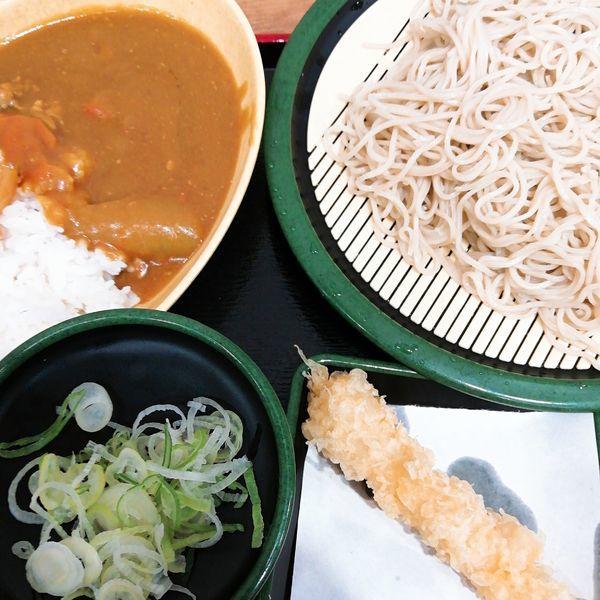 「カレーセット(冷)+海老天(クーポン)」@ゆで太郎 大宮ラクーン店の写真