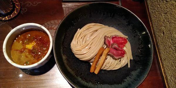 「満天2019【昼夜各10食限定】+大盛+つけたま」@つけ麺 繁田の写真