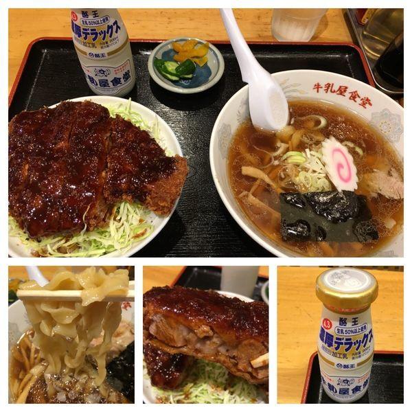 「Aセット極太手打麺に変更 1,370円、牛乳 130円」@牛乳屋食堂の写真