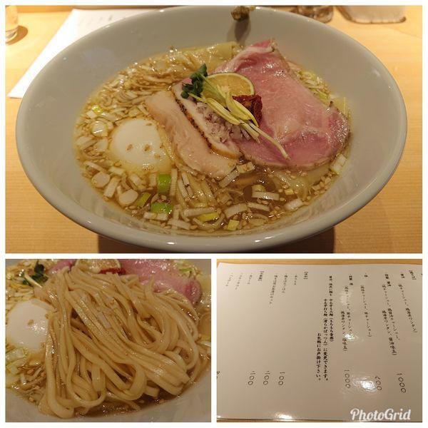 「特製鶏そば 塩(中太平打ち麺)」@鶏そば 山もとの写真