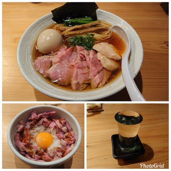 「特製らぁ麺(醤油)中盛り 豚ユッケ風ご飯 今宵の酒」@麺屋 さくら井の写真
