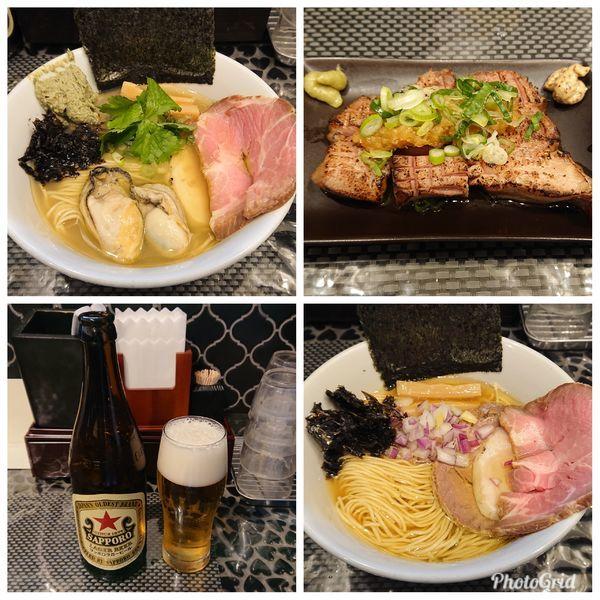 「牡蠣の塩そば・肉が三種のらぁ麺(淡麗煮干し塩)・炙り焼きちゃーし」@赤青(MURASAKI)の写真