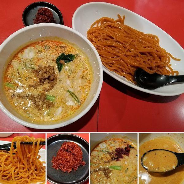 「担々つけ麺(赤麺)+ラー玉=900円」@つけめん工房 浅草製麺所の写真