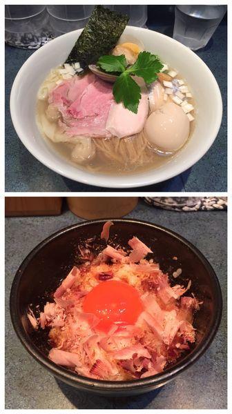「特製塩らーめん+紅孔雀卵かけごはん」@とものもとの写真