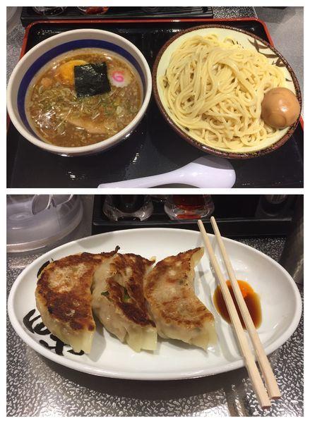 「半熟味玉もりそば(大)+心の味餃子(3個)」@松戸富田麺絆の写真